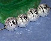 25 Silver plated Stardust frosted beads- 12 mm round -  (25 pieces)