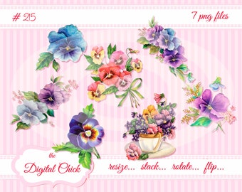 Digital Clipart, instant download, Vintage Pansy Images, pansies, vintage illustration, vintage flower art, clip art, PNG files  215