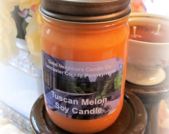 Soy Candle, Tuscan Melon, 12 Ounce in Jelly Jar with Daisy Cut Lid, Peach