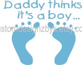 Baby announcement gender reveal party iron-on shirt decal transfers for dark garment