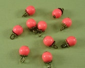 8pcs-Vintage Pink Coral Natural Stone Beads 6mm 1 loop.