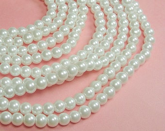 White Pearl Beads Glass 6mm 32 inch Strand.