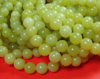 Lemon Jade Beads Natural Gemstone Round 8mm.