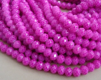 15inch-Magenta Quartz Glass Faceted Rondelle Beads...8mmx6mm..