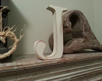 Freestanding Wooden Letter 'J' - Georgian Style - 20cm