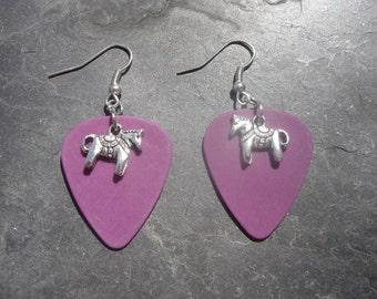 Purple Dunlop Guitar Pick Horse Earrings