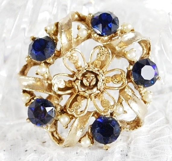 CIJ Sale- Vintage Flower Brooch / Pin, Cobalt Blue Rhinestones, White Pearls, Gold Floral, 1950s 1960s Mad Men, Wedding Bridal Jewelry