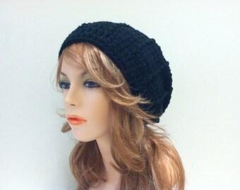 Crochet Slouchy Beanie - BLACK