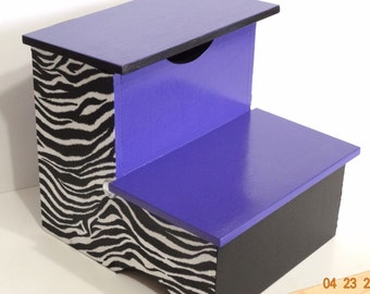 Step stool - Zebra Step Stool - Bathroom Stool - Girls Step Stool - Purple Stool - Bedroom Stool - Wooden Stool- Bathroom Stool