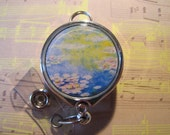 "Retractable ID Holder Badge Reel - Claude Monet's ""Water Lilies"" (Silver Chrome)"