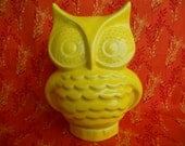 Neon Yellow Ceramic Owl Bank - made from a vintage mold