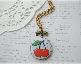 ON SALE  Antique Brass Long Cherries Locket Necklace