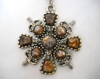 Fancy Square Cross with Jasper stones Necklace