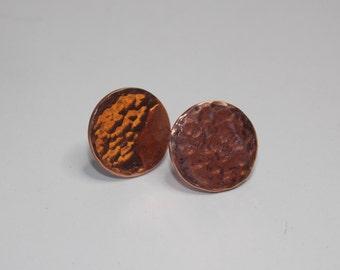 Industrial Elegance - Textured Minimalist Sterling Silver Stud Earrings in Custom Finish