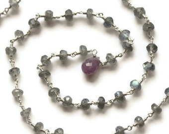 Labradorite Necklace, Pink Sapphire Pendant, Wire Wrapped Sterling Silver, Rosary-Style Links