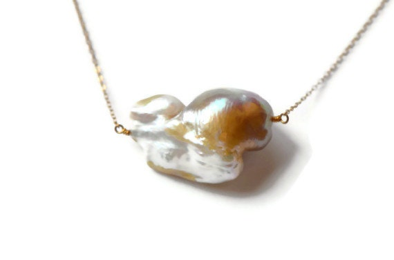 Pearl Solitaire Necklace, Giant Freshwater Baroque Pearl, Pondslime, Delicate 14k Goldfill Chain