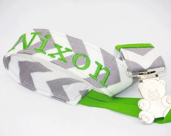 Personalized gray chevron Pacifier Clip with apple green ribbon, unique Baby shower gifts Custom Made with a quality fabric of your choice.