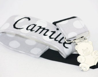 Grey and Black Personalized Pacifier Clip, baby shower gifts, handmade gifts