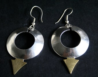 Sterling Silver and brass Earrings unique Design Signed TCH-