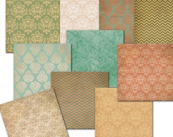 INSTANT DOWNLOAD.  Digital Paper Pack // Green Orange  Beige //  Damask // Commercial Use // 12 x 12 sheets,  10  papers (34)
