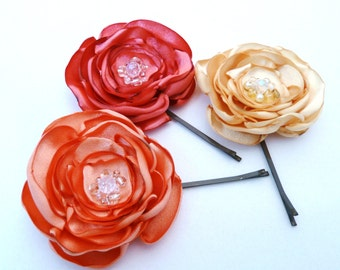 Flower Bobby Pins in Coral, Apricot and Buttercream, set of 3
