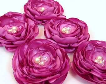 Fucshia Fabric Flower Accessories, Set of 5, Bridal Party Hair or Brooch Flowers with Pearl and Iridescent Beads, or Choose your Color
