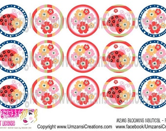 "15 M2MG Blooming Nautical - Flowers Digital Download for 1"" Bottle Caps (4x6)"