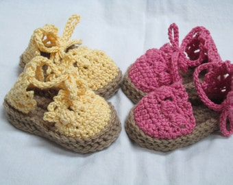Baby Espadrille Sandals-Handmade-Adjustable-0-3m or 3-9m, White, Pink, Yellow, Black or Turquoise MADE TO ORDER
