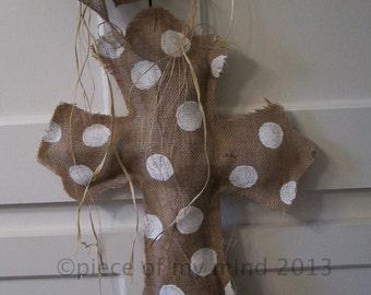 Burlap Cross Burlap Door Hanger Natural with Polka dots