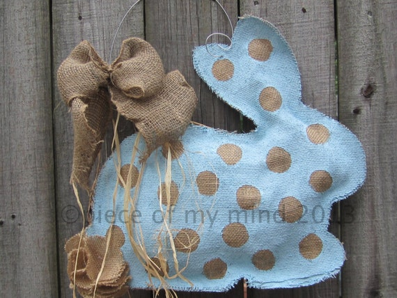 READY TO SHIP Burlap Door Hanger  Bunny with Tail in Blue