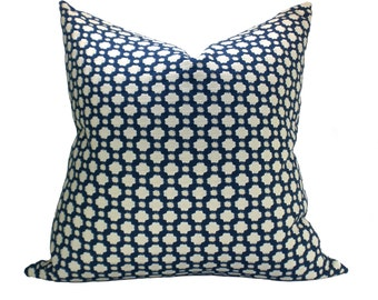 Schumacher Betwixt pillow cover in Indigo/Ivory