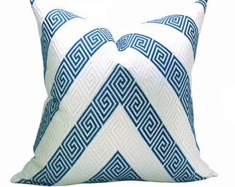 Schumacher Nebaha Embroidery pillow cover in Sky