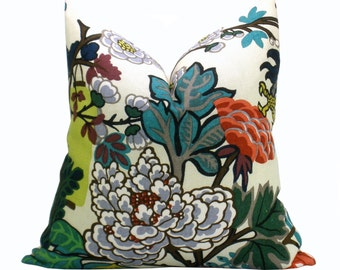 Pair of TWO Schumacher Chiang Mai Dragon Lantern pillow covers in Alabaster