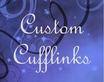 Custom Cufflinks, Personalized Cufflinks, Any Message Or Image, Keepsake Cufflinks