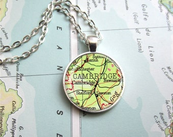 Map Pendant, Customized Map Necklace, Vintage Atlas Map Jewelry