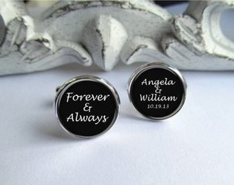 Mens Cufflinks, Personalized Groom Cufflinks With Name And Date