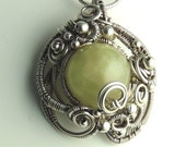 Green Aquamarine , Sterling Silver Sculpted Necklace, Mermaid Amulet