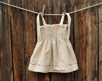 Embroidered Baby Girls Dress, Cream and Pink Vintage dress ribbon ties, Great for beach weddings, portraits... 3m,6m,9m,12m,18m