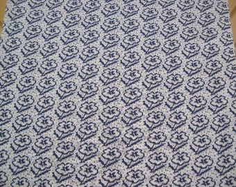 vintage fabric 60s navy white flower polyester fabric uncut 2 yds extra wide mod disco