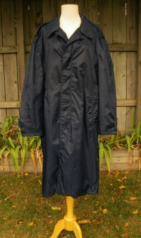 Vintage 60s Usaf Us Air Force Issued Navy Blue Nylon Raincoat