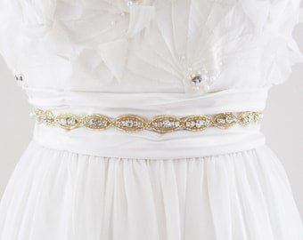 MADELINE GOLD - Vintage Inspired Beaded Bridal Belt in Gold