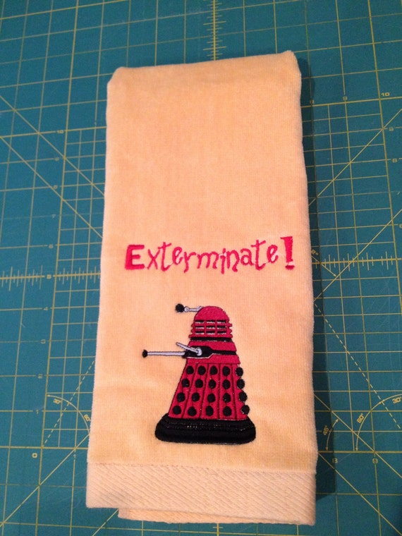 Custom Embroidered Doctor Who Dalek with Phrase Golf Towel, GIFTWRAP AVAILABLE!
