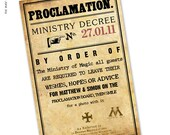 Printable Custom Ministry Decree Sign - Harry Potter Party - 11x17 Poster printable - also available as an invitation