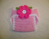 Pink Crocheted Diaper Cover with Detachable Flower Photo Prop - Available in Newborn, 3 to 6 and 6 to 12 Month