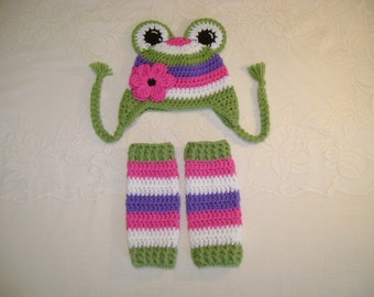 Silly Frog Crochet Hat & Legwarmer Set - Available in Newborn to Toddler Size - Any Color Combination