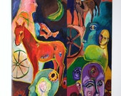 """Diptych Expressionist Painting on Canvas, 30"""" x 30"""" Original Art, Horse and Human Figures"""
