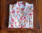 1980s White Floral Liz Claiborne Summer Blouse M