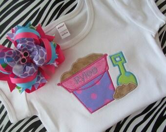Personalized Beach Pail Shirt and Matching Bow