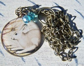 Rabbit Bunny Pendant Necklace Spring Brass Chain