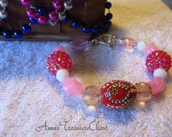 Pink Chunky Boho Bracelet